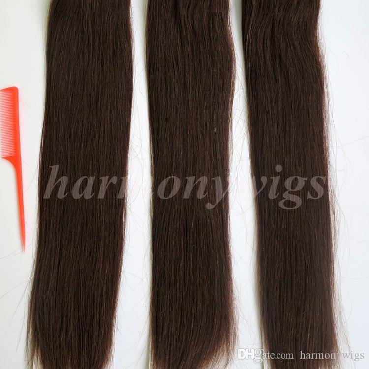 Top qualità 100g 40 pz / 50 pz nastro in estensioni dei capelli umani colla trama della pelle 18 20 22 24 pollici # 2 / più scuro marrone brasiliano capelli indiani