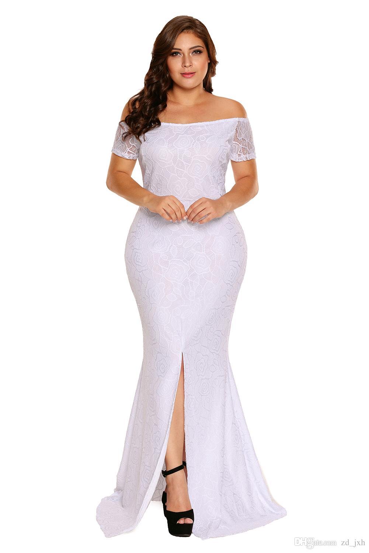 2018 White Plus Size f Shoulder Lace Gown Big Yards Dress y