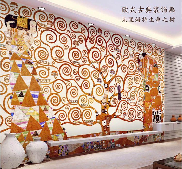 Klimt Painting Wall Mural The Tree Of Life Photo Wallpaper Custom Famous  Painting Wallpaper Room Decor Silk Wall Art Corridor Bedroom Pc Desktop  Wallpaper ... Part 43