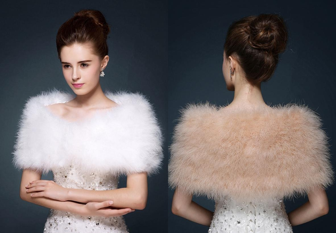 2017 2016 Winter Models Plush Ostrich Feather Shawl Bride Wedding ...