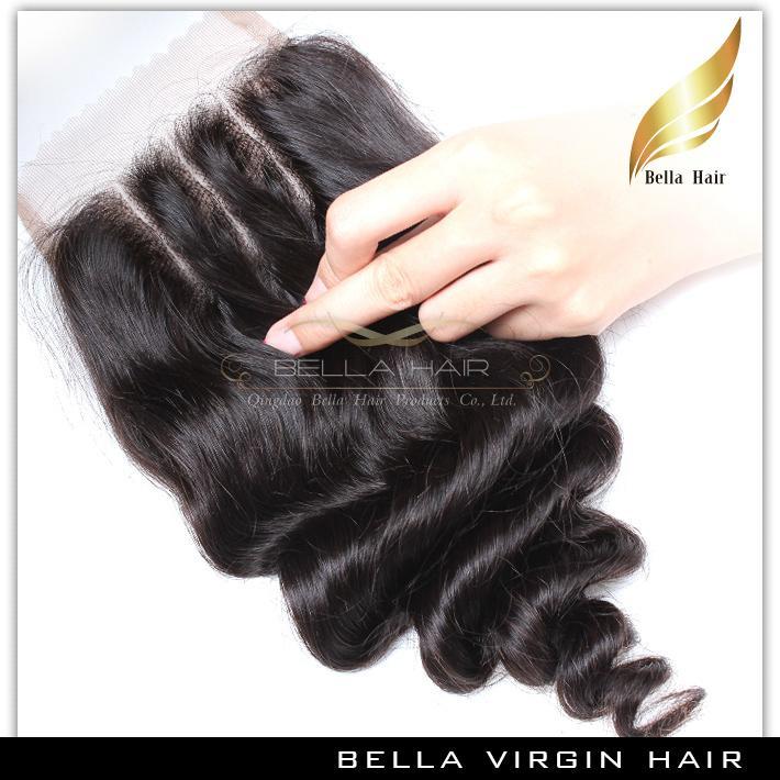 Bella Hair® 8A Haarbundels met Sluiting Braziliaanse Extensions Inslag Top Kant Zwarte Losse Golf