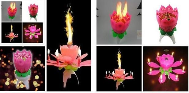 Lotus Flower Music Candle Beautiful Blossom Lotus Flower Candle Birthday Party Cake Music Sparkle Cake Topper Spedizione gratuita