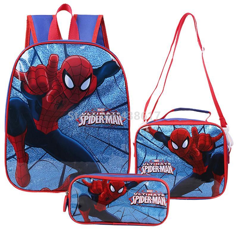 الرجل العنكبوت سبايدرمان بنين الكرتون حقيبة مدرسية مع غداء مقلمة