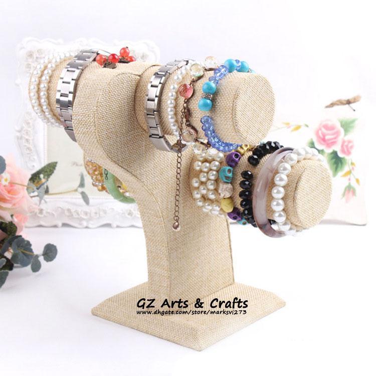 Top Grade Burlap Wooden Armband Watch Smycken Display Stativhållare Linen Bangle Headband Holder Two-Layer