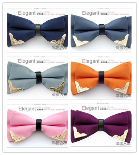Wholesale 12 Colors Stylish Fashion Novelty Men's Bowtie Men TUXEDO Bow Ties for Wedding Banquet Business Metal Package Corner Free Shipping