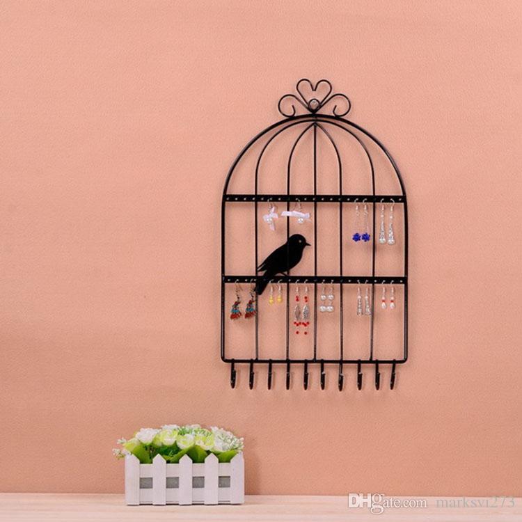 Iron Birdcage Wall Hanging Necklace Orecchini Braccialetti Titolare Jewelry Display Stand Scaffale Collezione Scaffale multifunzionale gioielli