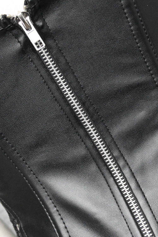 Sexy Steampunk black leather corset dress womens black Lingerie Gothic lace corset dresses bustier short dress Leather Clasp Corset Dress