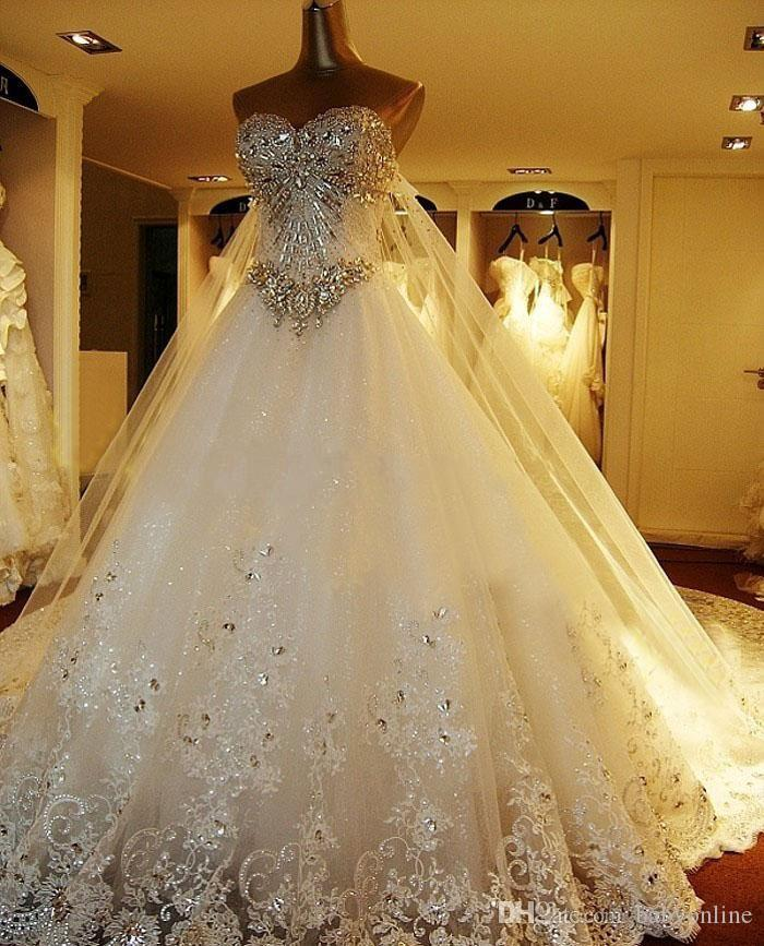 2017 Swarovski Crystals A Line Wedding Dresses Luxury Sweetheart Formal Church Vestidos De Noiva for Brides Lace Dress with Long Tulle Wrap