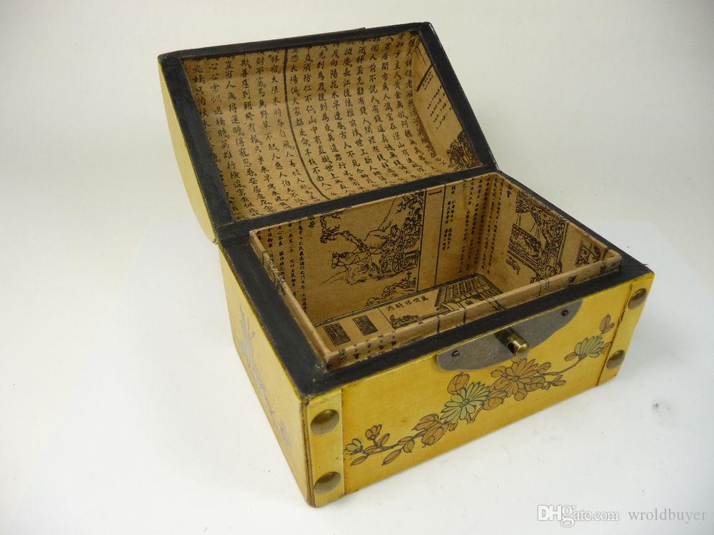 old china handwork superb wood jewelry box paint dragon Phoenix