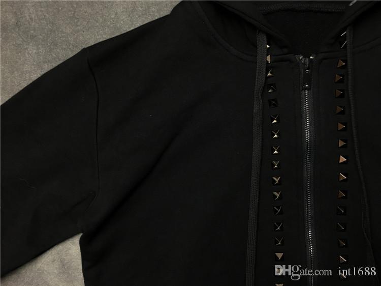 2017 Осень Зима горячая продажа марка металла заклепки украсить пуловер пальто балахон мужчины с длинным рукавом молнии повседневная спорт толстовка