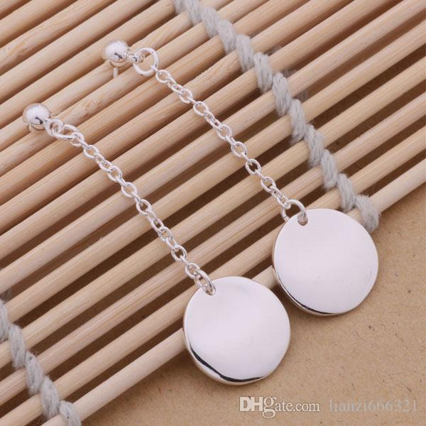 Fashion Jewelry Manufacturer a Hanging Bump disc earrings 925 sterling silver jewelry factory price Fashion Shine Earring