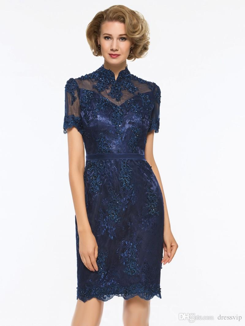 Short Sleeve Mother Of The Bride Dress High Neck Lace Applique Knee Length Mother Of The Groom Dresses Plus Size Evening Gown Wedding