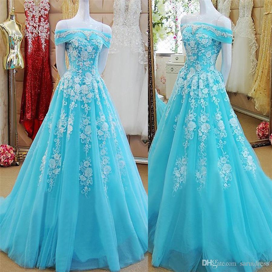 25659153d417 Off The Shoulder Bateau Neck Mint Green Tulle A Line Applique Prom Dress  Reals Evening Gowns Black Girl Prom Gowns Gowns For Sale Kids Prom Dresses  From ...