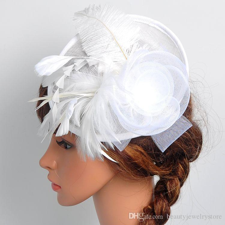 White Wedding Hats for Bridal Flowers with Feathers Graceful Women's Party Hats Vintage Fascinator Hat chapeau mariage