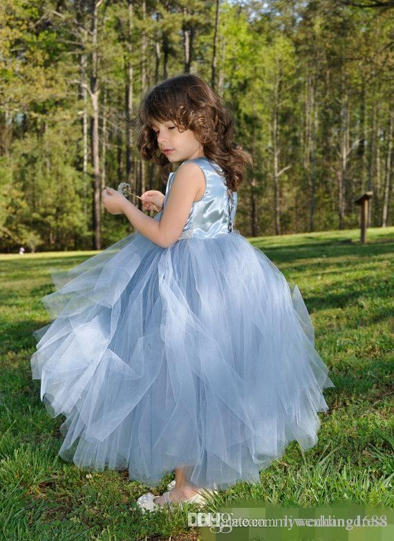 Flower Girls Dresses For Weddings 2018 Sky Blue Tulle Little Kids Dresses Formal Lace Communion Pageant Ball Gown With Pearls Sash Christmas