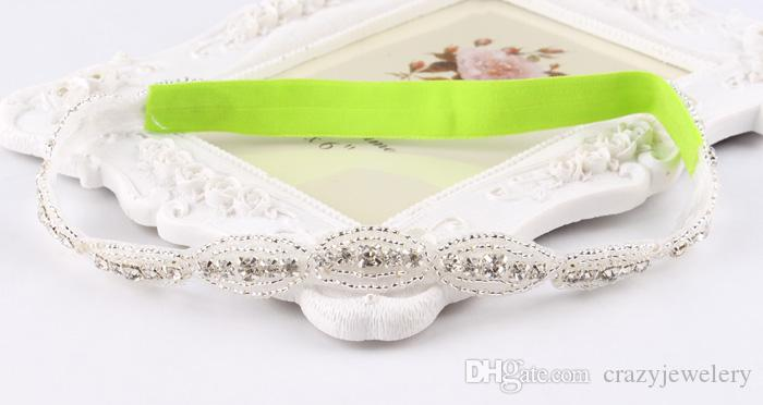 Fashion Baby Headbands With Rhinestone Applique Elastic Luxury Crystal Hairbands Bridal Hair Accessories For Girl Wedding Hair/Corsage
