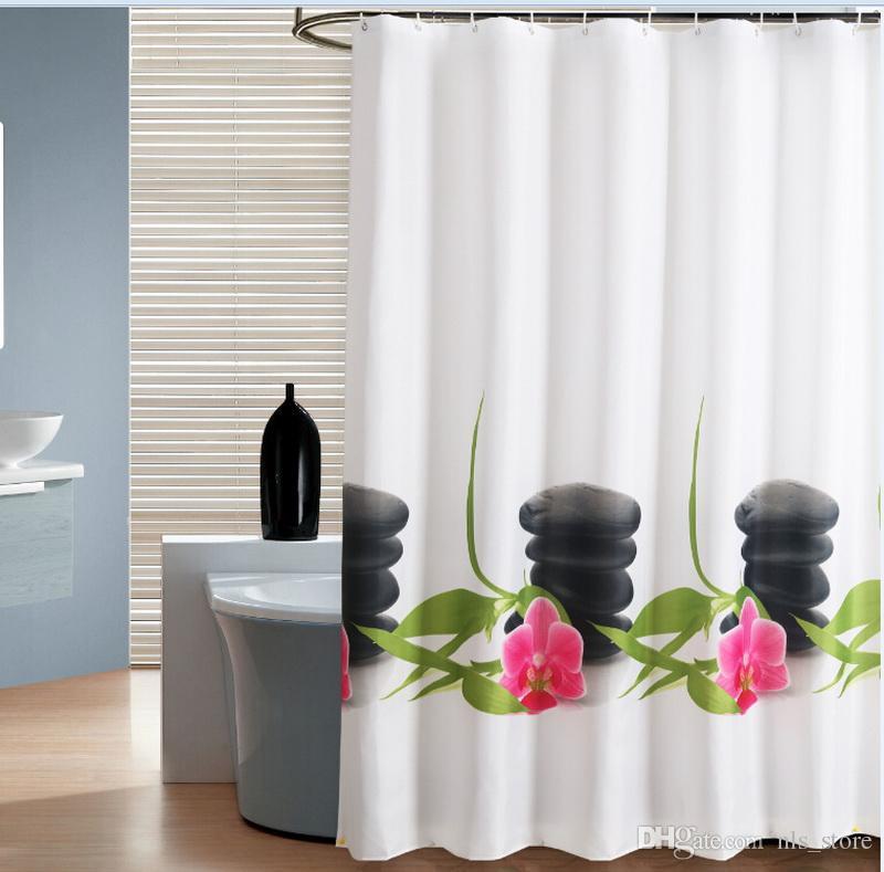 Fabric Polyester ZEN Stone And Flower Zengarden Waterproof Shower ...