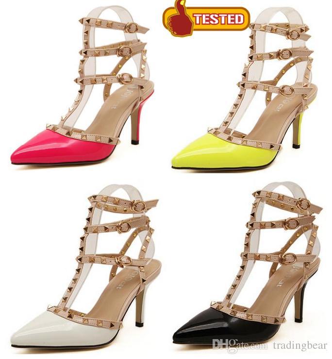 08e1219078 Compre 8 Cm Amarelo Fluorescente Rosa T Cinta Rebites Sandálias Sapatos De  Verão Mulheres Sapatos De Salto Alto Novidade Designer Sapatos Tamanho 35 A  40 De ...