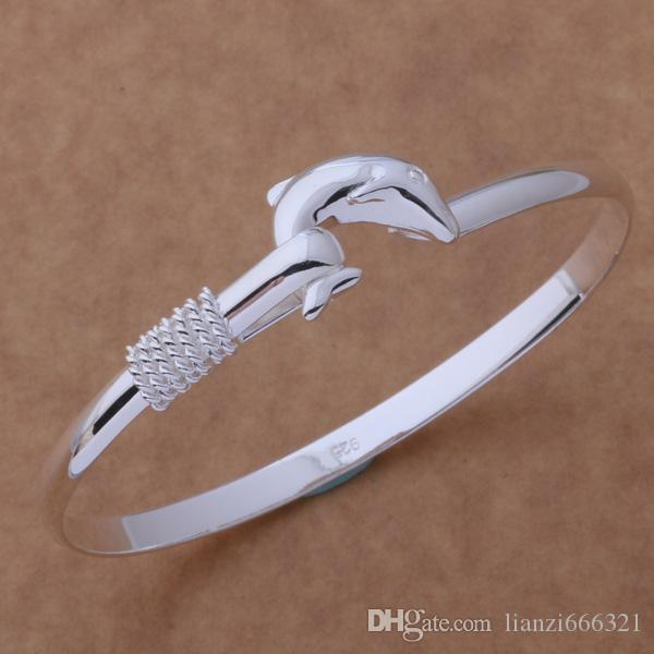 hot gift factory price 925 silver charm bangle Fine Noble mesh Dolphin bracelet fashion jewelry 1304
