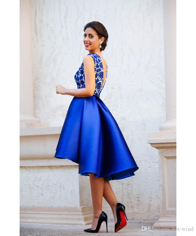 2020 Royal Blue Custom Made V-neck Backless Short Cocktail Dresses Lace Top Satin Sexy Formal Party Gowns Cheap Party Dresses