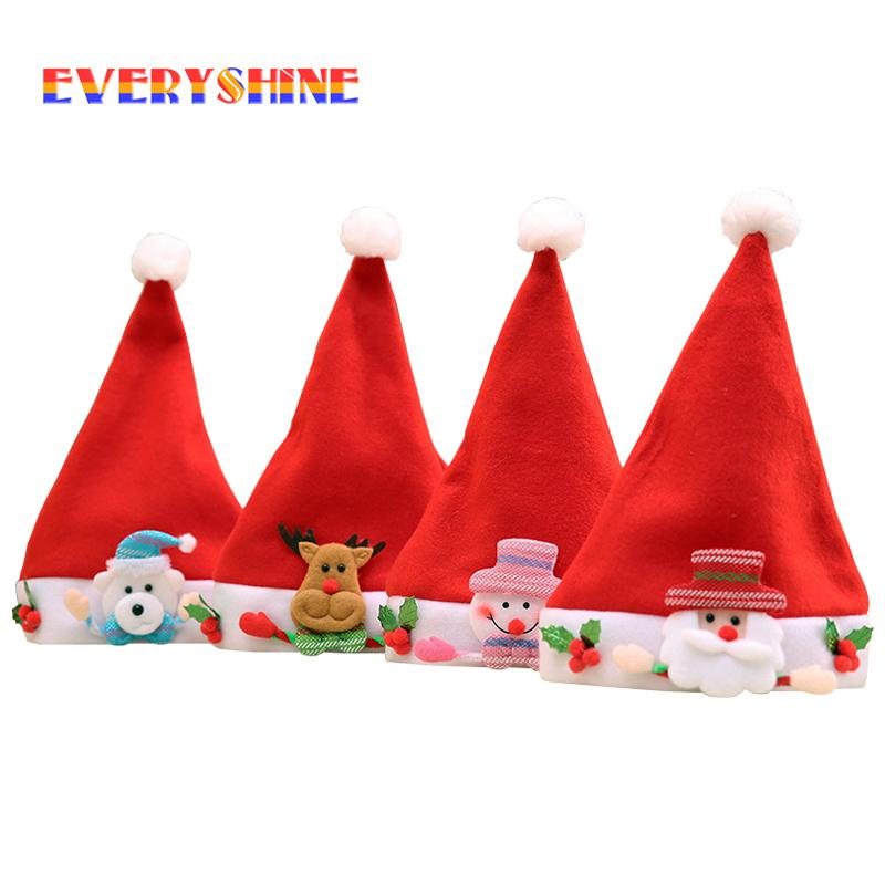 non woven fabric santa snowman reindeer ornaments kids christmas hats xmas festival gifts children decor caps jk293 images of christmas decorations indoor