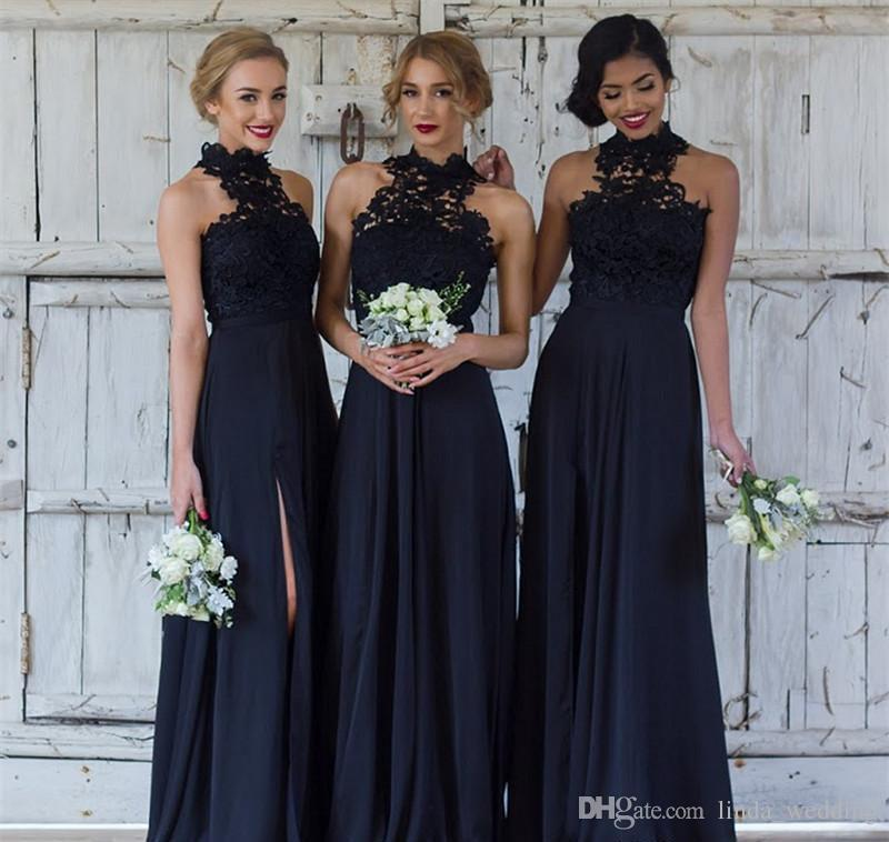 4b809b13b249 2018 Black High Neck Bridesmaid Dress A Line Appliqued Spring Summer Formal  Wedding Party Guest Maid Of Honor Gown Plus Size Custom Made Taupe  Bridesmaid ...