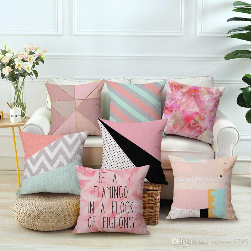 Nordic Pink Cushion Cover Creative Geometric Design Throw Pillow ...