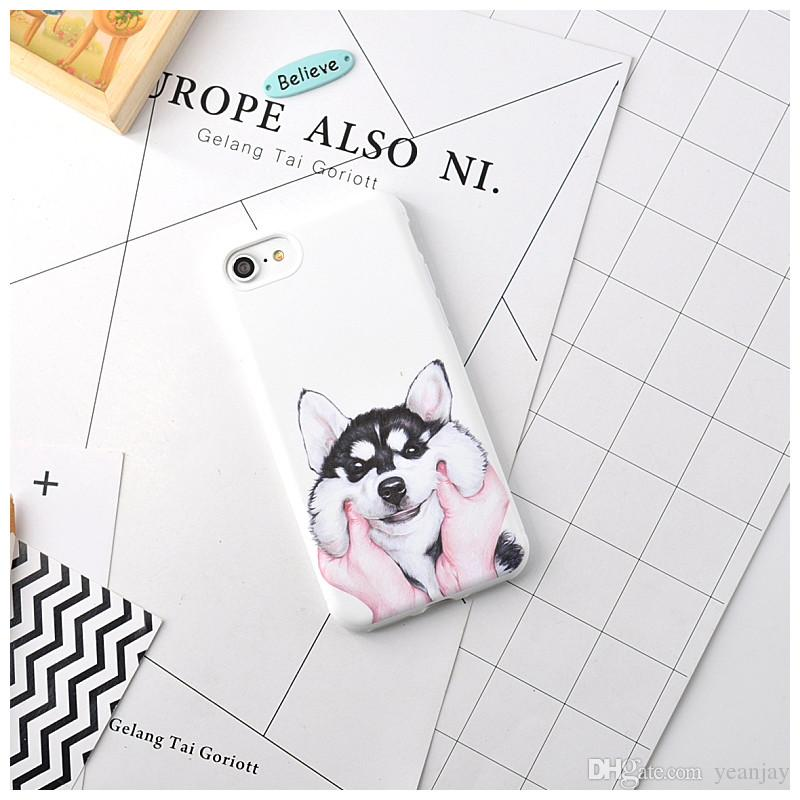 Hot Sale Fashion Cute Cat Dog Case For Apple iPhone 6 6S Plus 7 7 Plus Cell Phone Cases Soft TPU Cartoon Back Cover Coque