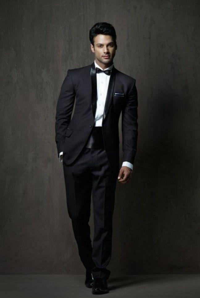 2015 Black Modern Wedding Tuxedos Cheap Mens Suits Shawl Lapel Best Man Suit Bridegroom Evening Prom Party Jacket Pants Tuxedo For