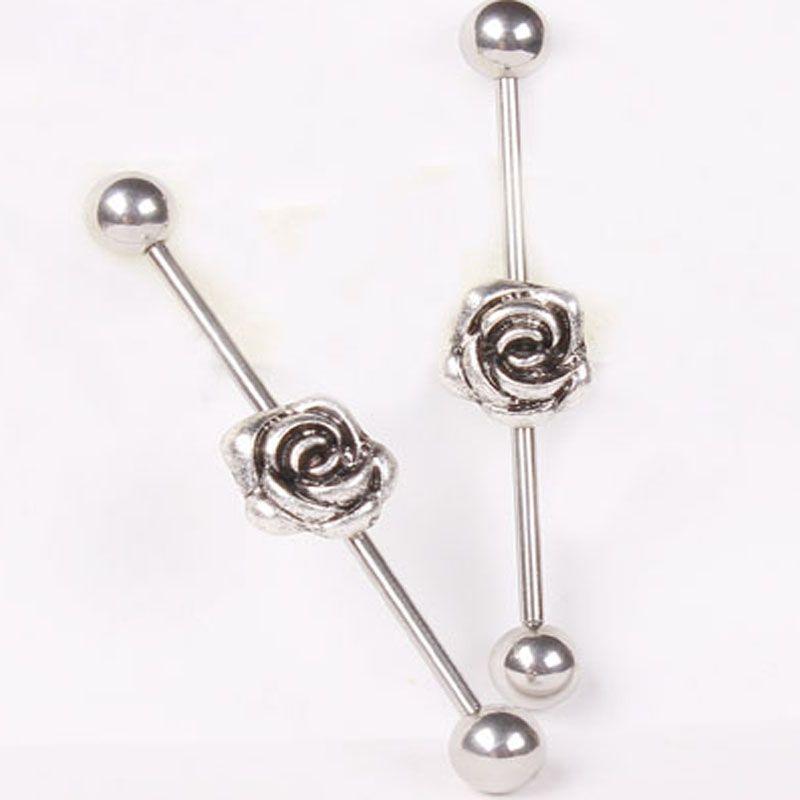 Jk Ear Piercing 316l Stainless Steel Rose Long Industrial Barbell Earring Tragus Fake Ear Stud Body Chain Ear Jewelry