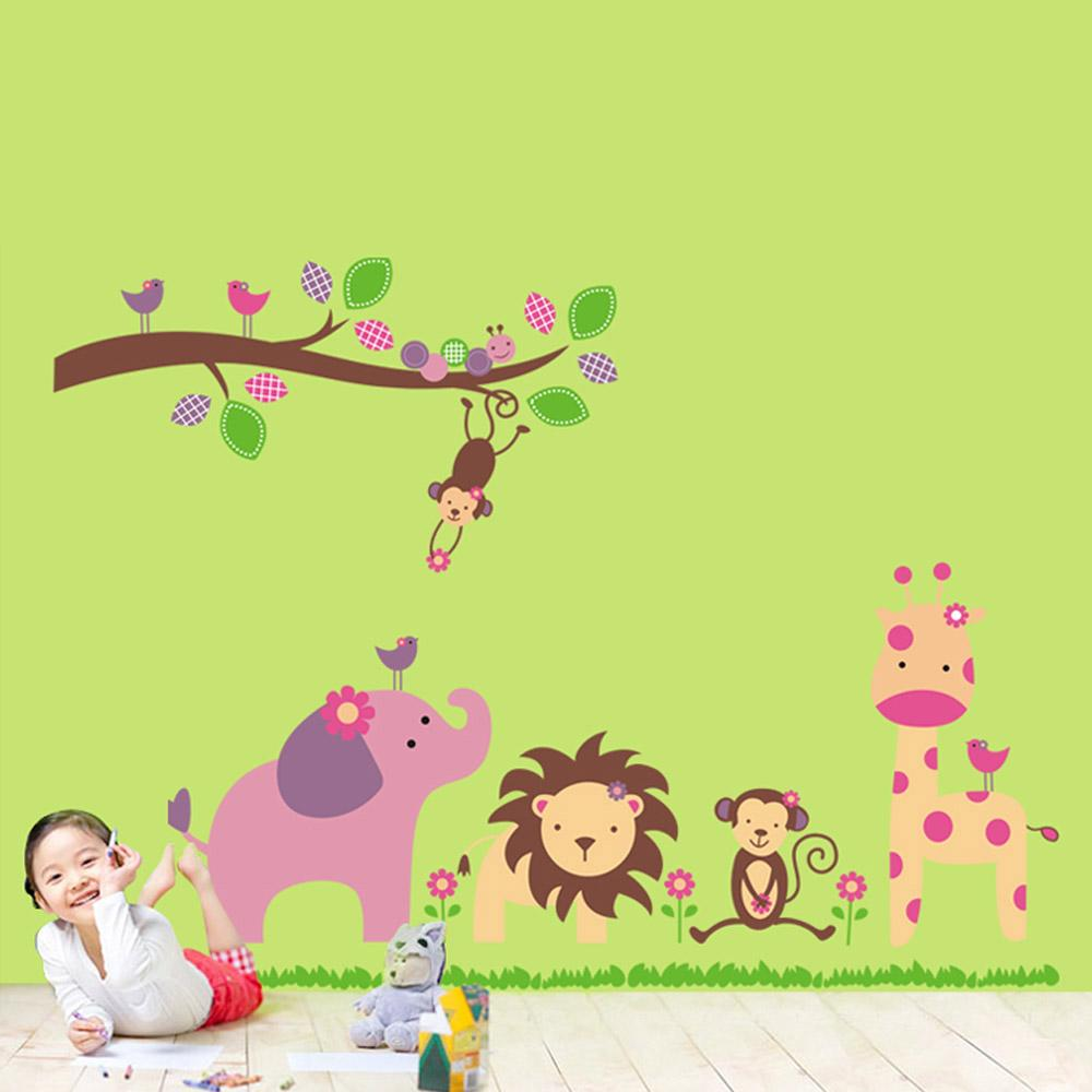 cartoon lovely animal lion monkey giraffe elephant zoo removable see larger image
