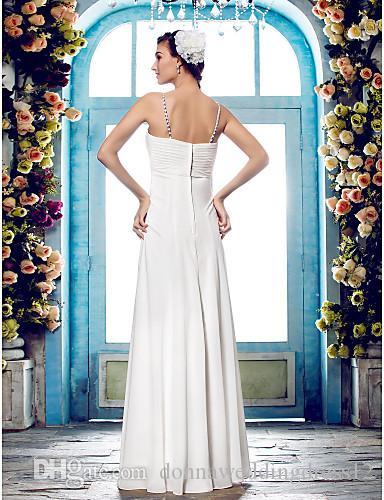 2016 nuovo modo popolare spedizione gratuita avorio pavimento-lunghezza senza spalline perline chiffon fodero glamour abiti da sposa 190
