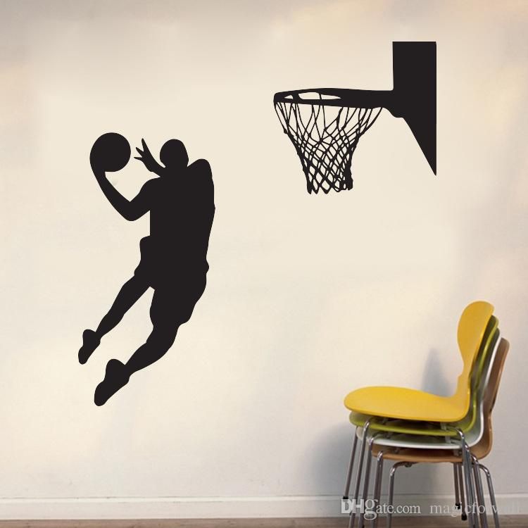 Shoot at the Basket Wall Art Mural Decor Home Decoration Wallpaper Decal Sticker Sport Boys Kids Room Art Poster Graphic
