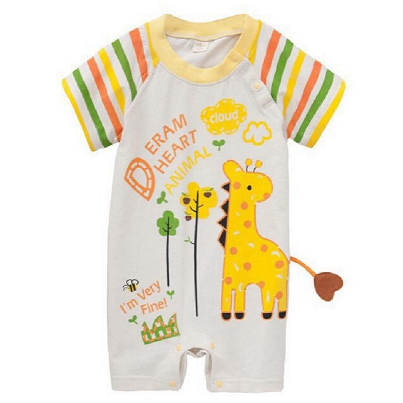 212651d201a6 2019 Baby Romper With Tail Cartoon Elephant Giraffe Short Sleeve Clothing  For Baby Boy Baby Girl Summer Clothing Roupa De Bebe From Lin744