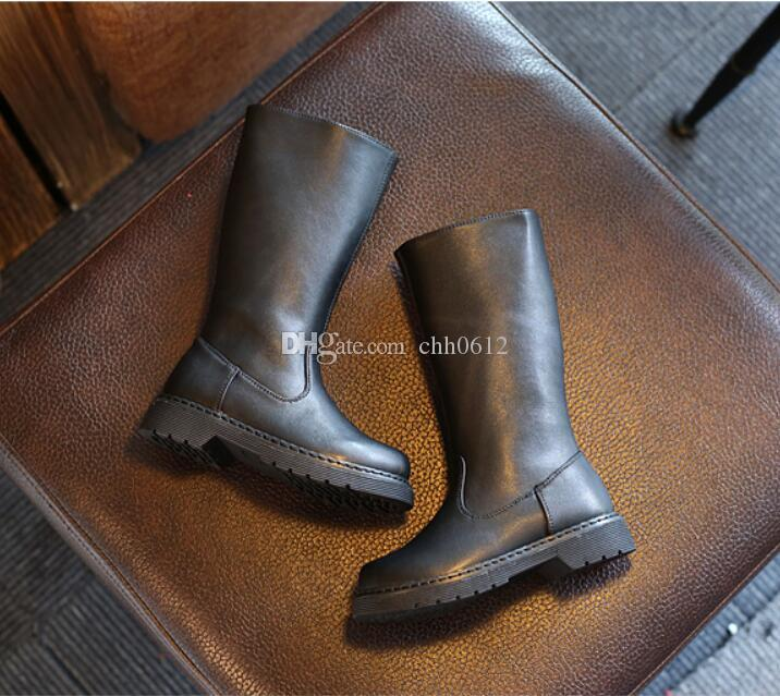 2017 Autumn Winter Baby Girl Pu Leather Knee High Boot Children Fashion Flat Toddler Black Booties
