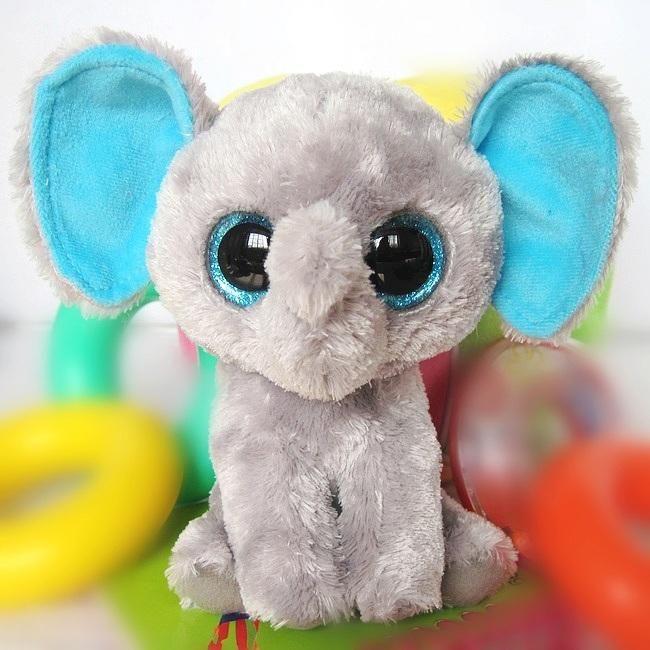 TY Big Eye Plush Toys Soft Grey Elephant Doll 15cm And 25cm Stuffed ... 3774aac7925