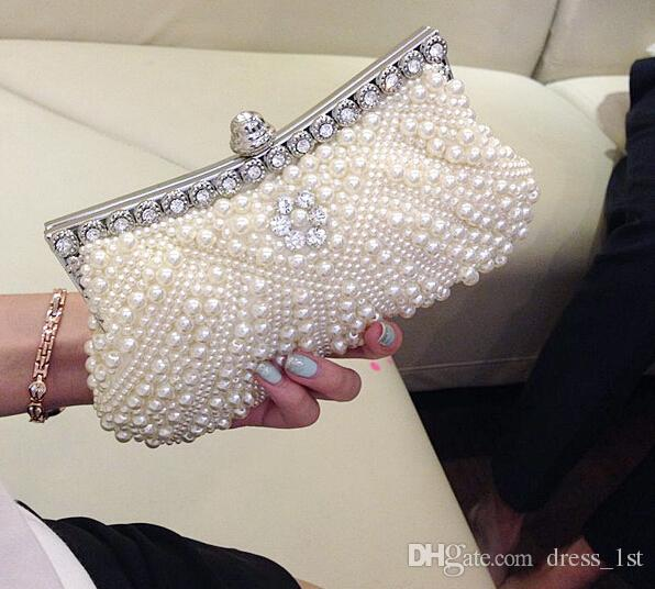 Cheap Pearls Hobos Ivory Bridal Hand Bags 2015 Hot Style Fashion Women Beaded Clutch Bags For Party Evening EN8216