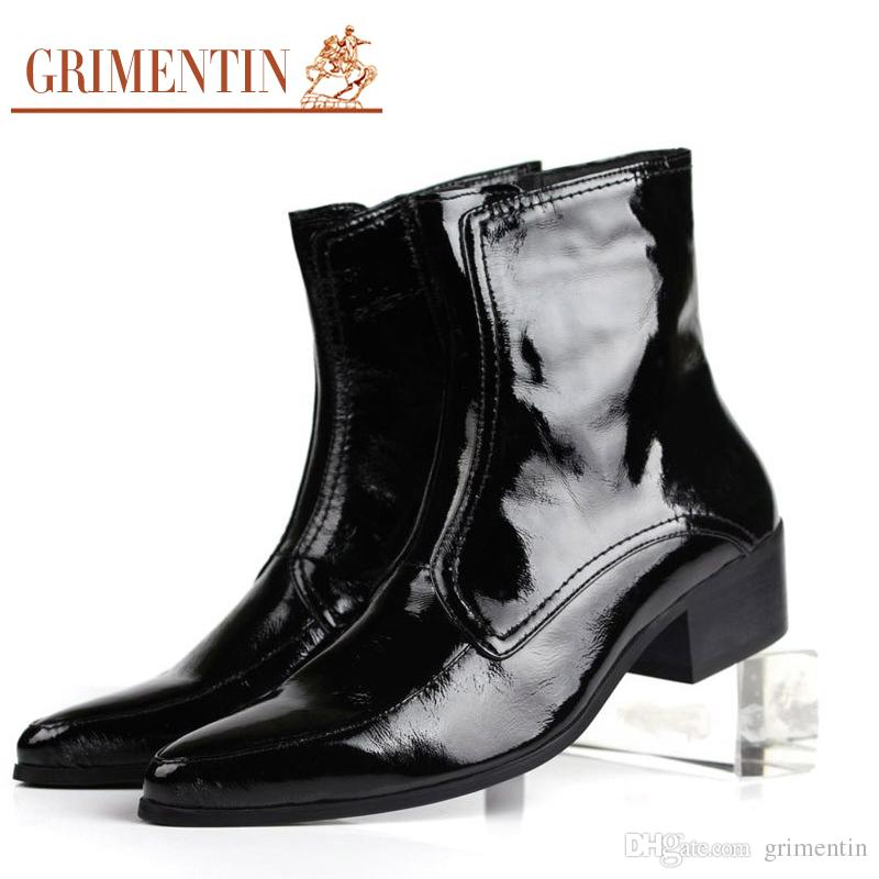 GRIMENTIN Luxury Mens Patent Leather Boots Pointed Toe Rubber Sole British  Style Business Short Ankle Boots Shoes Male Size 38 44 1ZB194 Brown Boots  Winter ... 1a5dbb8802a9