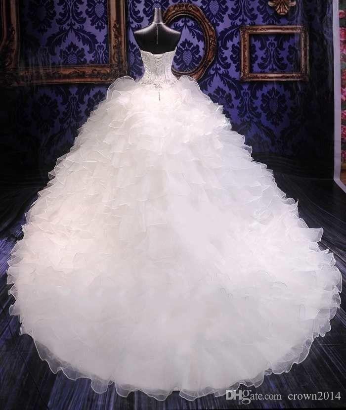 2020 Luxus Perlen Stickerei Ballkleid Brautkleider Prinzessin Kleid Korsett Schatz Organza Rüschen Cathedral Zug Brautkleider billig