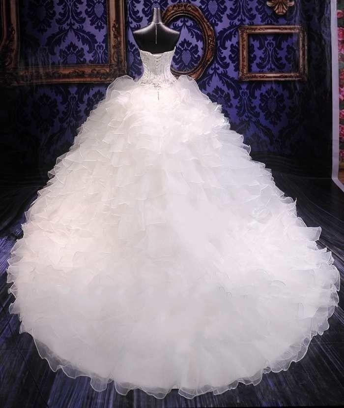 2021 럭셔리 페이어 자수 공 가운 웨딩 드레스 공주 가운 코르셋 스위트 오르간 르트 ruffles 대성당 기차 신부 가운 싸게