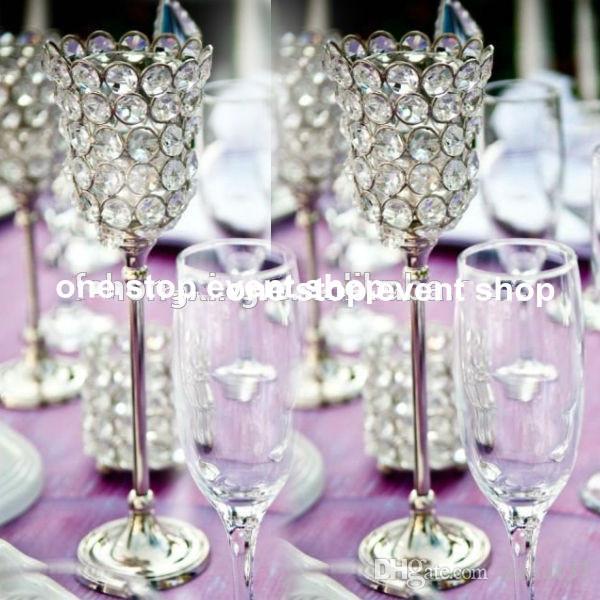 웨딩 테이블 장식 중앙 조각에 대한 도매 우아한 은색 작은 촛불 홀더