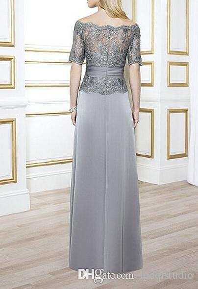 Elegant Mother of the Bride Dresses Light Gray Satin Chiffon with Lace Top Zipper Back Mother's Dresses Off Shoulder Custom Made Plus Size