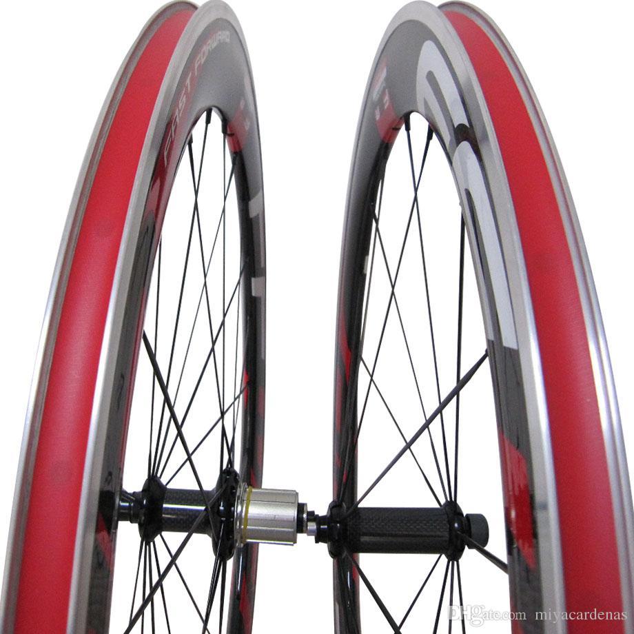 Red FFWD F6R 60mm Carbon-Faser-Straßen-Fahrrad-Legierung Brems Suface Wheelset F5R Carbon-Aluminium-Straßen-Fahrrad-Räder Clincher