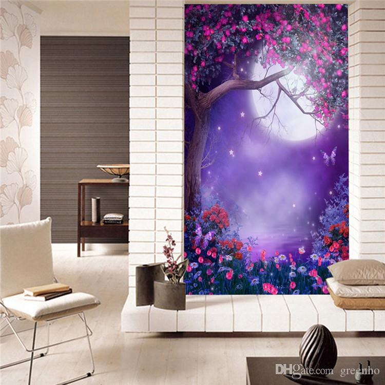 Fashion Photo Wallpaper Purple Dreamy Moonlight Wall Mural Background Wall  Room Decor Nursery Sitting Room Bedroom Hallway Kids Room Bg 2709 Desktop  ... Part 51