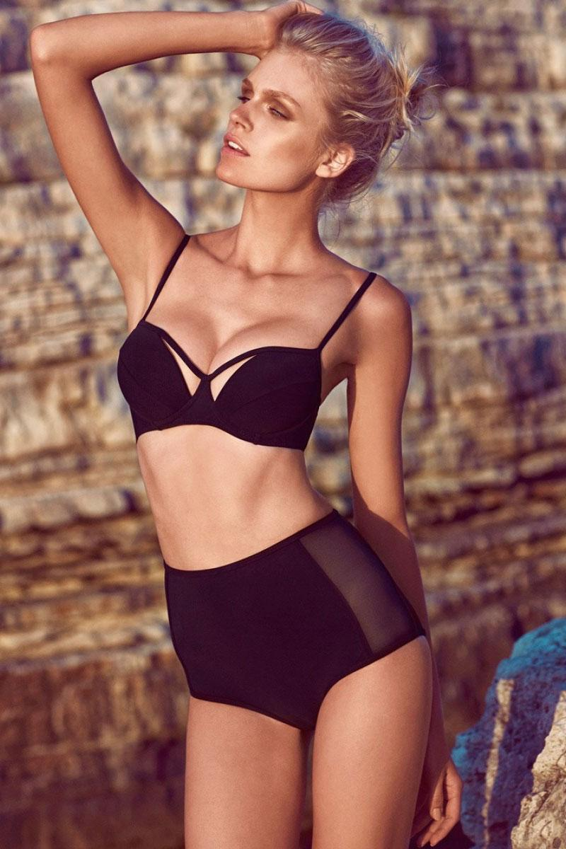 2016 New Women 2 Piece Swimwear Spaghetti Strap Push Up Padded Bikini Bathing Suits S40916 Sexy Black Mesh High Waisted Bikinis