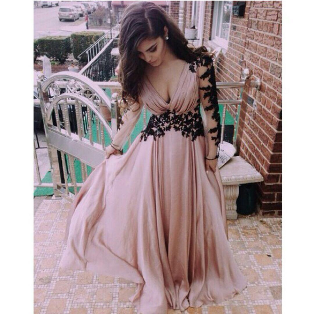 Sandy Beige Long Prom Dresses Deep V Neck Long Sleeves Gorgeous