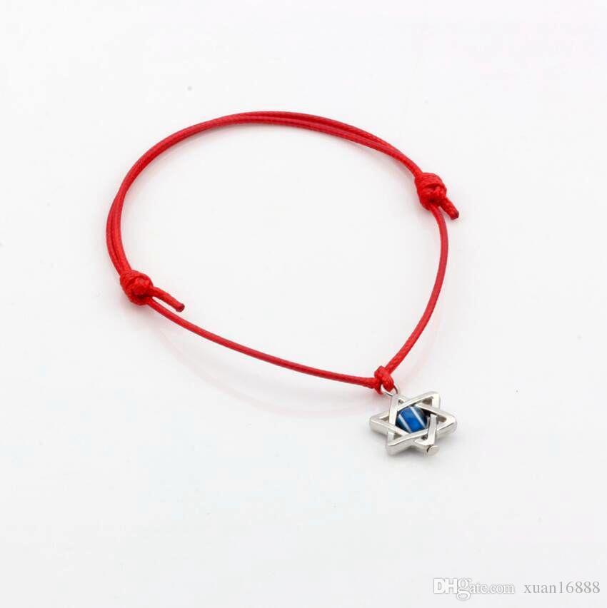 Caliente ! Cábala estrella de David encantos color mezclado cera cuerda pulseras ajustables