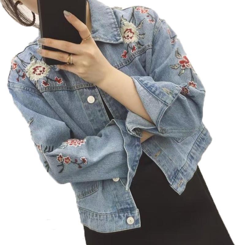 Wholesale Embroidered Denim Jacket Women 2017 Spring Autumn Ladies Long  Sleeve Short Jacket Coat Fashion Female Jean Jacket Girl'S Outwear  Windbreaker ...