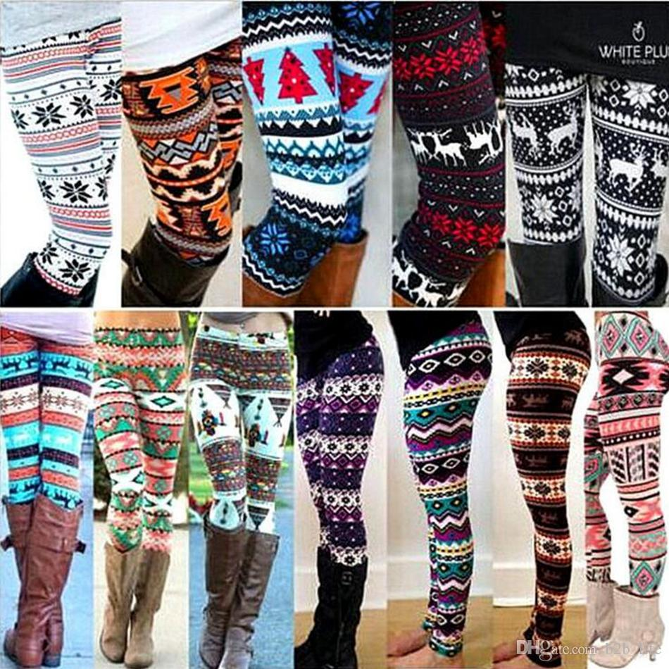 Natal do inverno do floco de neve malha Leggings Xmas meias quentes calças stretch calças justas Mulheres Bootcut Stretchy Pants OOA3442