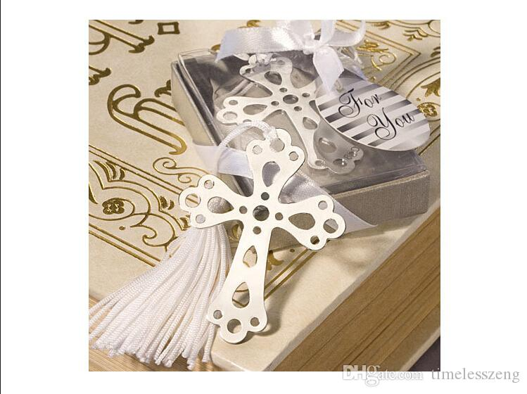 Segnalibro in acciaio inossidabile argento Scava fuori la croce Segnalibri Bomboniere Nuovie belle moda Bomboniere
